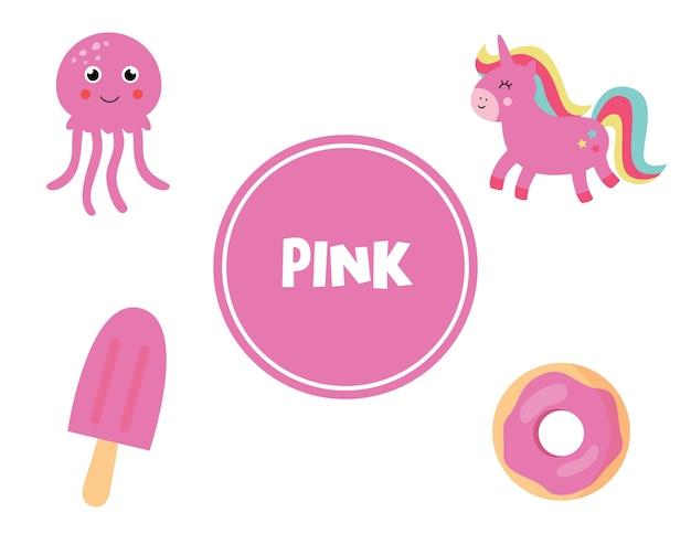 Flashcard bonito do vetor com um conjunto de objetos-de-rosa. página de aprendizagem de cores para crianças. planilha educacional para pré-escolares.