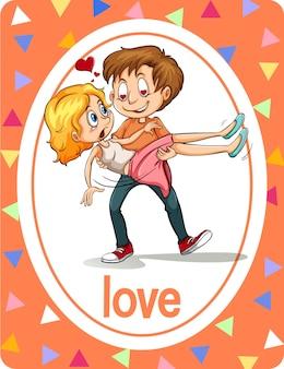 Flashcard de vocabulário com a palavra amor