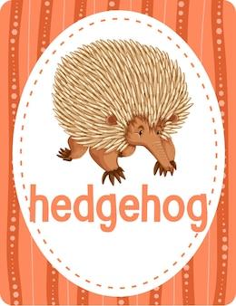 Flashcard de vocabulário com a palavra hedgehog
