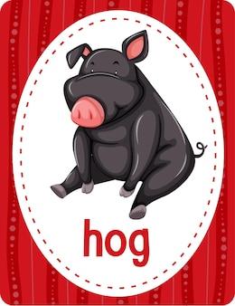 Flashcard de vocabulário com a palavra hog