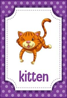 Flashcard de vocabulário com a palavra kitten