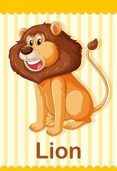 Flashcard de vocabulário com a palavra lion