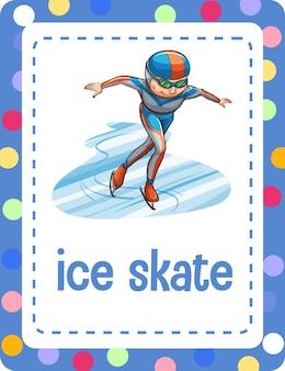 Flashcard de vocabulário com a palavra patim no gelo