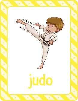 Flashcard de vocabulário com palavra judo