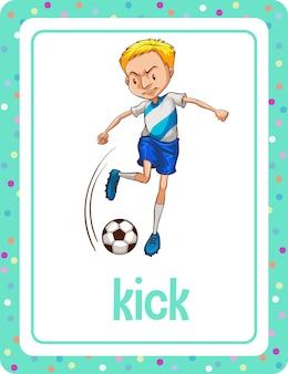 Flashcard de vocabulário com palavra kick