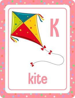 Flashcard de vocabulário com palavra kite Vetor grátis