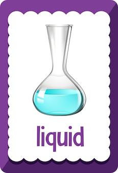 Flashcard de vocabulário com palavra líquido