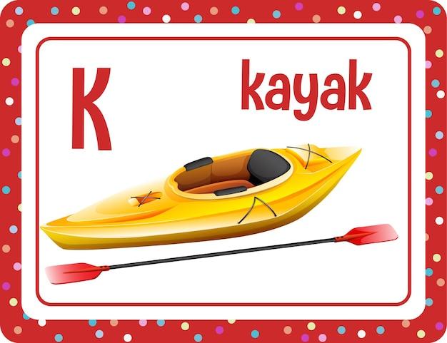 Flashcard do alfabeto com a letra k e kayak