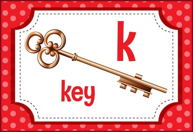 Flashcard do alfabeto com a letra k para a chave