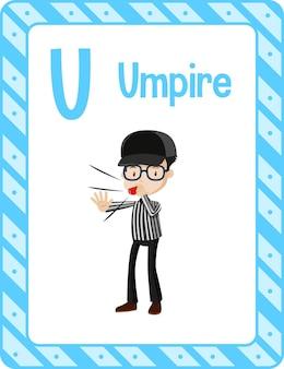 Flashcard do alfabeto com a letra u para árbitro