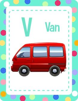 Flashcard do alfabeto com a letra v e van