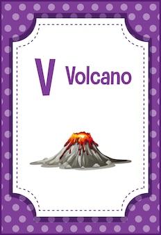 Flashcard do alfabeto com a letra v para vulcão