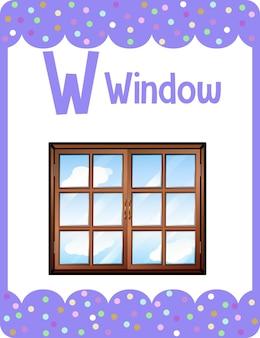 Flashcard do alfabeto com a letra w para janela