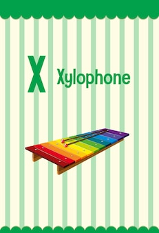 Flashcard do alfabeto com a letra x para xilofone