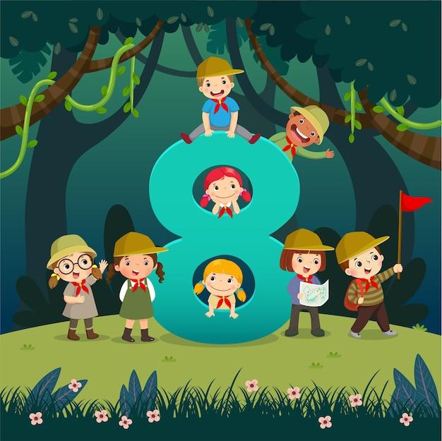 Flashcard para jardim de infância e pré-escola, aprendendo a contar o número 8 com várias crianças.