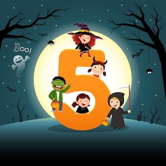 Flashcard para o jardim de infância e a pré-escola, aprendendo a contar o número 5 com várias crianças.