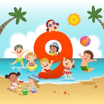 Flashcard para o jardim de infância e a pré-escola, aprendendo a contar o número 9 com várias crianças.