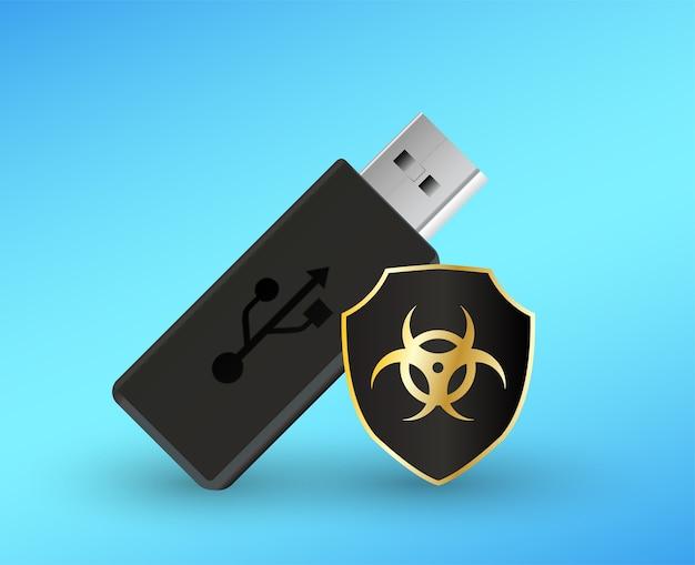 Flashdrive usb com um computador antivírus escudo de proteção