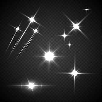 Flashes de luz lançam cometas brilhantes e cintilantes em fundo transparente