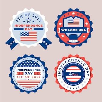 Flat 4 de julho - coleção de etiquetas do dia da independência