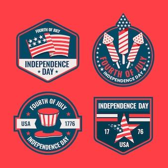 Flat 4 de julho - coleção de rótulos do dia da independência