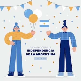 Flat 9 de julio - ilustração da declaração de independência de la argentina