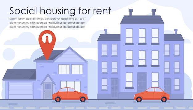 Flat banner advertising habitação social para alugar