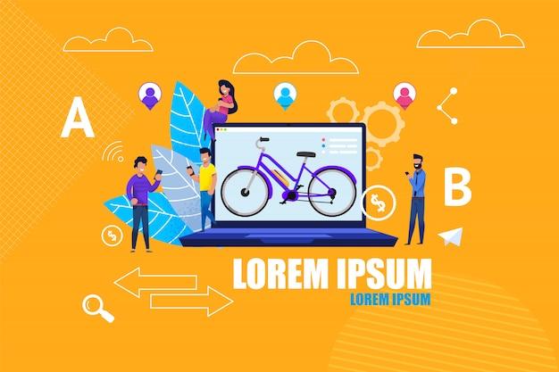 Flat banner aluguel de bicicletas online service app.