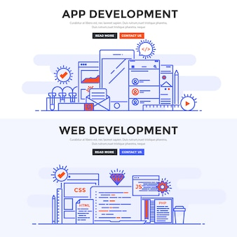 Flat banner desenvolvimento de aplicativos e desenvolvimento web