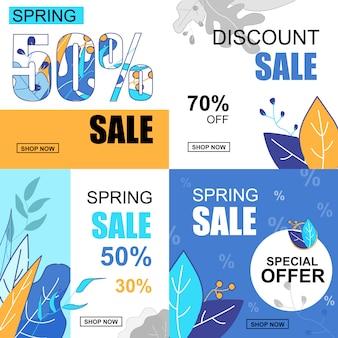 Flat banner set primavera venda 30, 50, 70, percent.