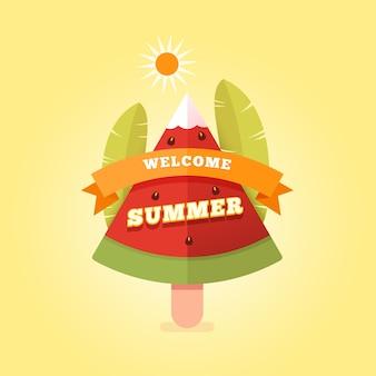 Flat bem-vindo verão com melancia.