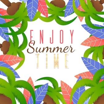 Flat card enjoy horário de verão lettering cartoon