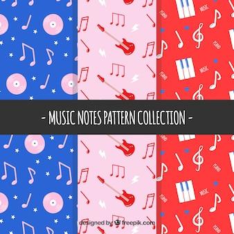 Flat coleção de padrões com notas de música