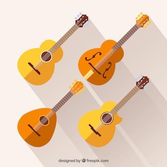 Flat conjunto de grandes guitarras acústicas