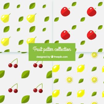 Flat conjunto de quatro padrões com frutas