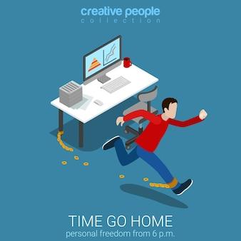 Flat d estilo isométrico tempo ir para casa conceito de negócio web infográficos ilustração vetorial correntes de travagem de trabalhador homem acabando coleção de pessoas criativas