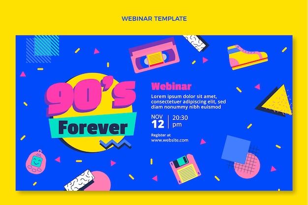 Flat design 90 seminário on-line de aniversário nostálgico