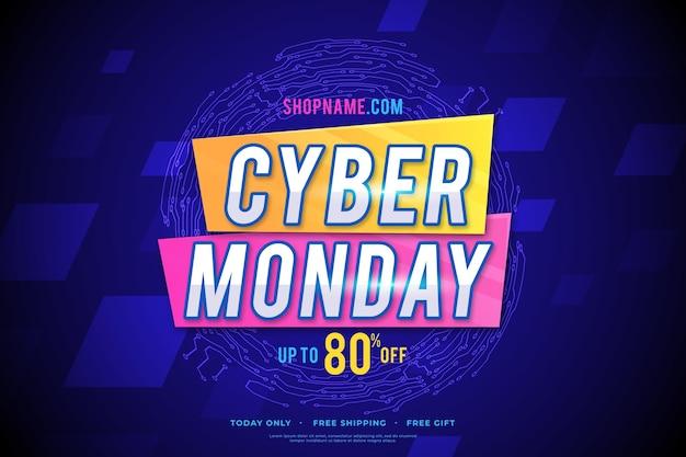 Flat design banner cyber segunda-feira