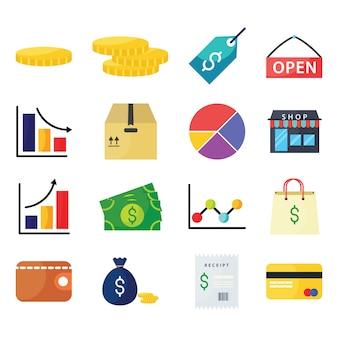 Flat design business icon set