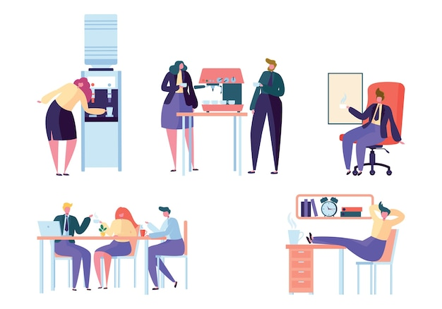 Flat design business people coffee break trabalho. grupo de pessoas, colegas, trabalhador de escritório, amigo, bebendo café, chá, água do refrigerador, ilustração vetorial de escritório isolada no fundo branco