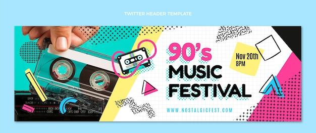 Flat design cabeçalho do twitter do festival de música dos anos 90
