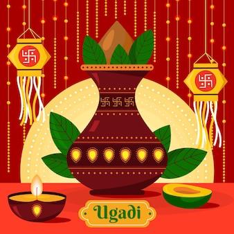 Flat design celebração ugadi