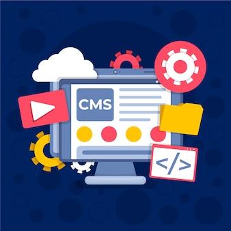Flat design cms com vários aplicativos abertos