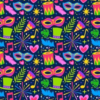 Flat design colorido padrão de carnaval brasileiro