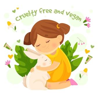 Flat design cruelty free e ilustração vegana