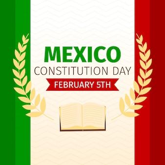Flat design dia da constituição do méxico