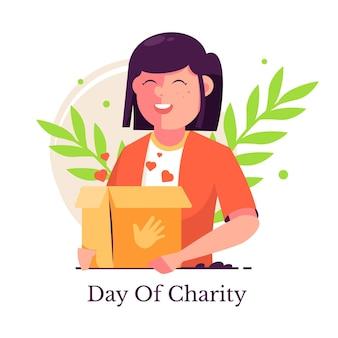 Flat design dia internacional da ilustração de caridade