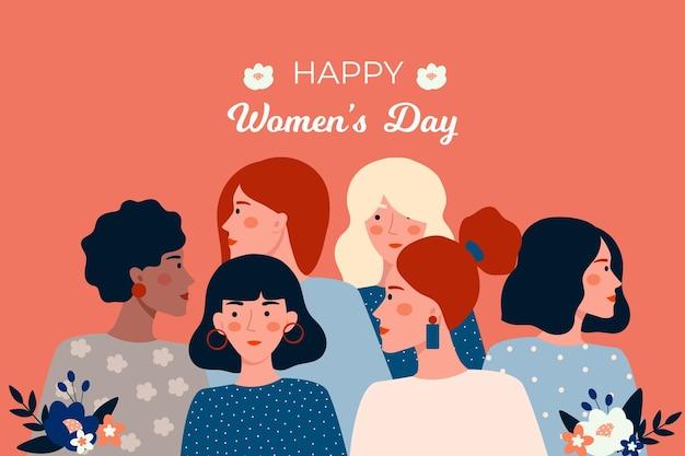 Flat design dia internacional da mulher
