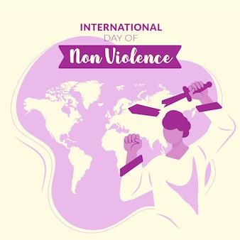 Flat design dia internacional da não violência com guerreiro