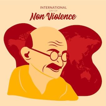 Flat design dia internacional da não violência com o homem